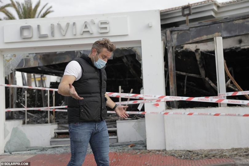 Shock: Former TOWIE star Elliott Wright has revealed that his dream restaurant Olivia's La Cala has been gutted by a devastating fire weeks after his father died
