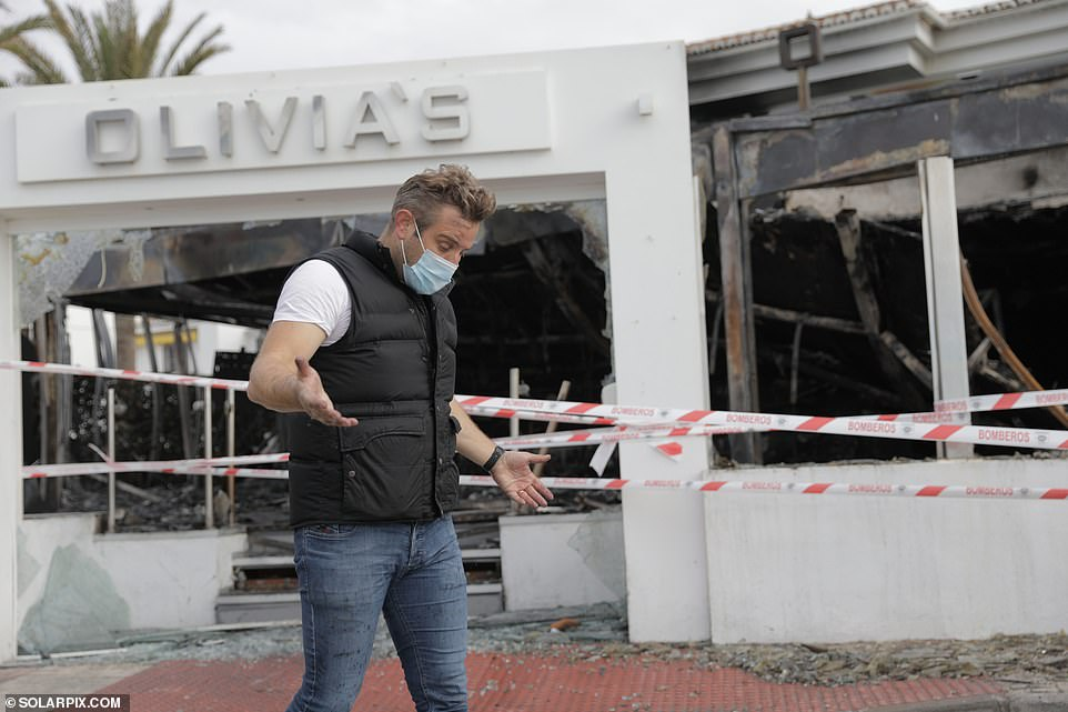 Shock: Former TOWIE star Elliott Wright is set to be 'grilled by police' after his dream restaurant Olivia's La Cala was gutted in a devastating fire weeks after his father died from Covid