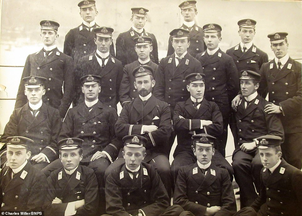 The HMS Terrible gun room crew are pictured posing for a photograph on board the vessel at the turn of the 20th century. The ship was one of only two of the Royal Navy's Powerful class of cruisers. HMS Terrible was initially bound for China when her captain, Percy Scott, persuaded the admiralty to allow him to intervene in hostilities in South Africa