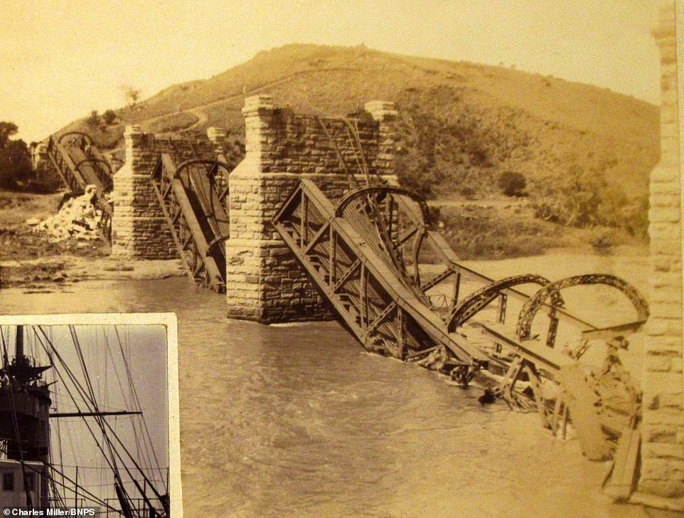 One image of the Boer War conflict in Dorling's album shows a blown up bridge.The war lasted for three years from 1899 to 1902 and would claim 22,000 British and more than 6,000 Boer lives.Around 25,000 Afrikaner also died in the war, most of them in concentration camps