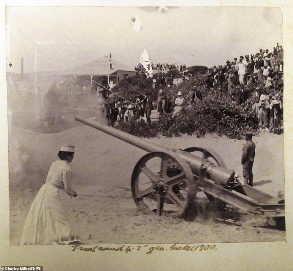 One striking photo shows a nurse setting off a large field gun while a large crowd of spectators watched from a hillside in 1900.The album, containing 74 photos, also features his time afterwards in Hong Kong, where he took pictures of locals as he enjoyed a welcome respite with his fellow officers