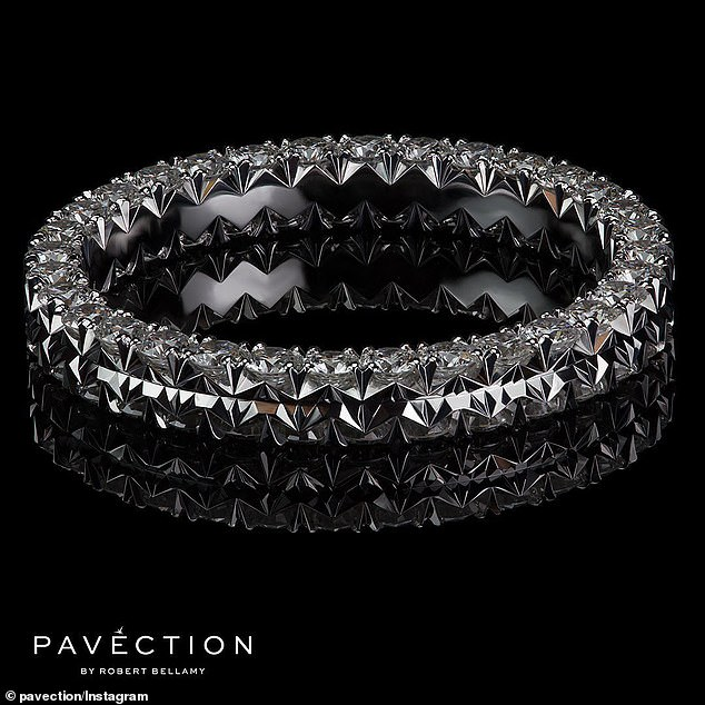 Bargain!The MAFS bride recently listed her $16,200 sparkler for auction on eBay, but was forced to lower the starting bid to $1000. Pictured is her 18ct white gold and diamond, handcrafted, 'Duet' wedding ring - from Pavection by Robert Bellamy