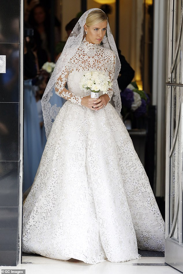 Socialite and heiress Nicky Hilton sported a similar number for her wedding to banking heir James Rothschild in 2015.