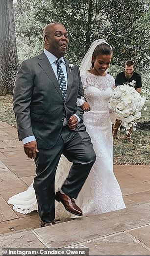 More recently controversial conservative commentator Candace Owens tied the knot to George Farmer, son of British life peer Michael Farmer in a Kate-inspired lace bodice in 2019.