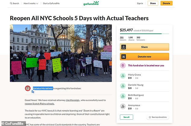 The GoFundMe page states: 'The basis for our NYC lawsuit is that remote learning and 'Zoom in a Room' are causing irreparable harm to children and depriving them of their constitutional right to an education'