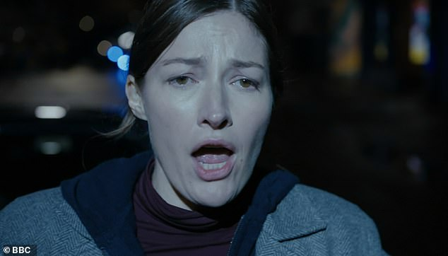 Cliffhanger:After being lured to a lonely car park by DCI Jo Davidson (pictured) [Kelly MacDonald] during the previous episode, Kate [Vicky McClure] was met by armed officer Ryan