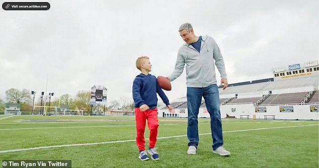 Ryan speaks with his son Brady in the video, and talks about his time as a high school football quarterback