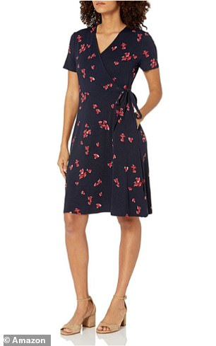 The Amazon Essentials Women's Cap-Sleeve Faux-wrap Dress in Navy Red Tossed Tulip