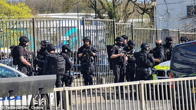 Armed police were pictured outside the West Sussex college as staff and students were evacuated from the building