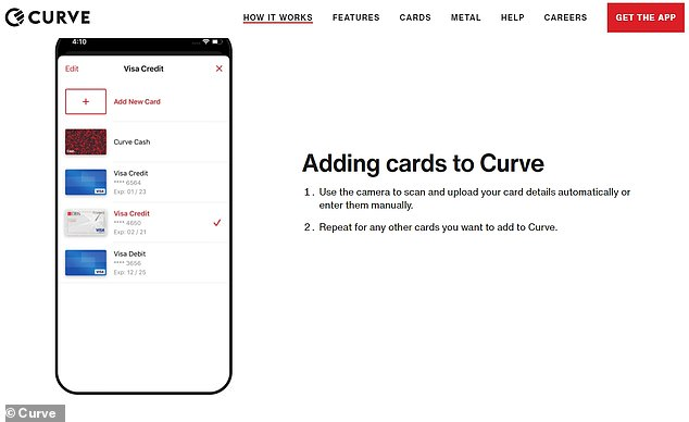 Curve lets users load multiple cards onto one app and choose which one to sync with a physical card