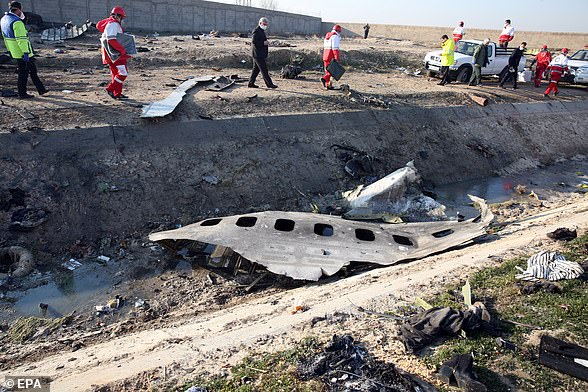 Pictured: Officials stand near the wreckage after an Ukraine International Airlines Boeing 737-800 carrying 176 people crashed near Imam Khomeini Airport in Tehran, killing everyone on board; in Shahriar, Iran, 08 January 2020