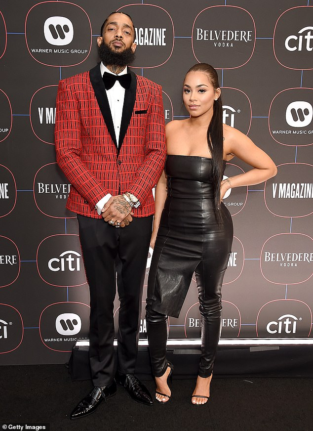 Longtime love:Hussle, who was 33 when he was killed, was romantically-involved with London for six years. They were snapped in February of 2019, a month before his death