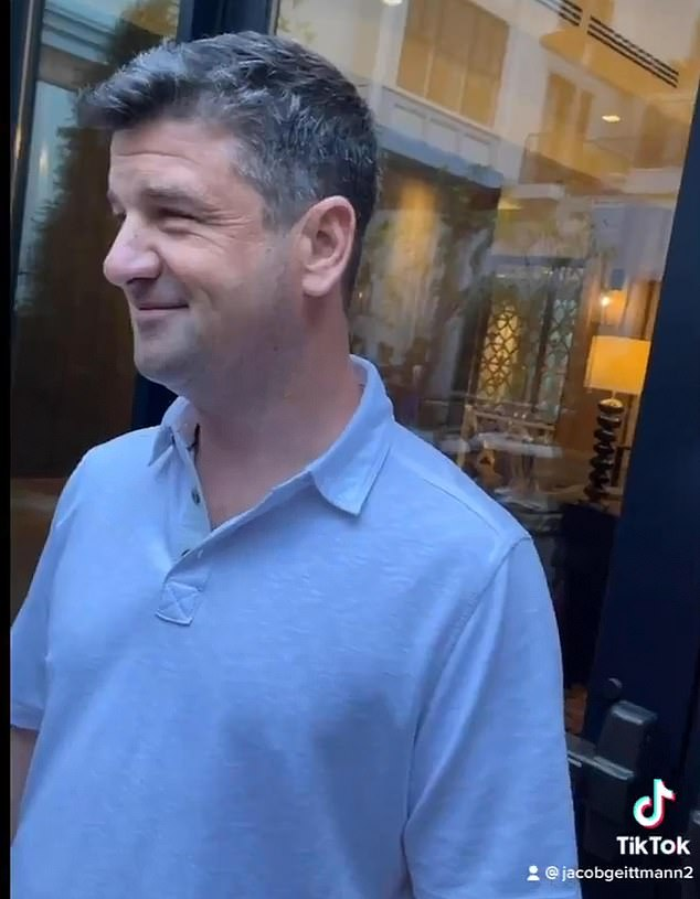 At the end of the 45-second footage, Stevens can be heard telling Johnson, 'I'm sorry, I'm gorgeous', to which he responds, 'are you?'