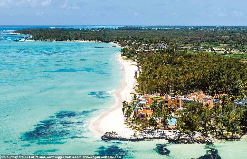 Pictured is Salt of Palmar in Belle Mare, Mauritius. According to the book's authors there are 'just a few steps from the hotel room to the beach' and 'the restaurant focuses on fresh products, local cultivation, and plant-based dishes'