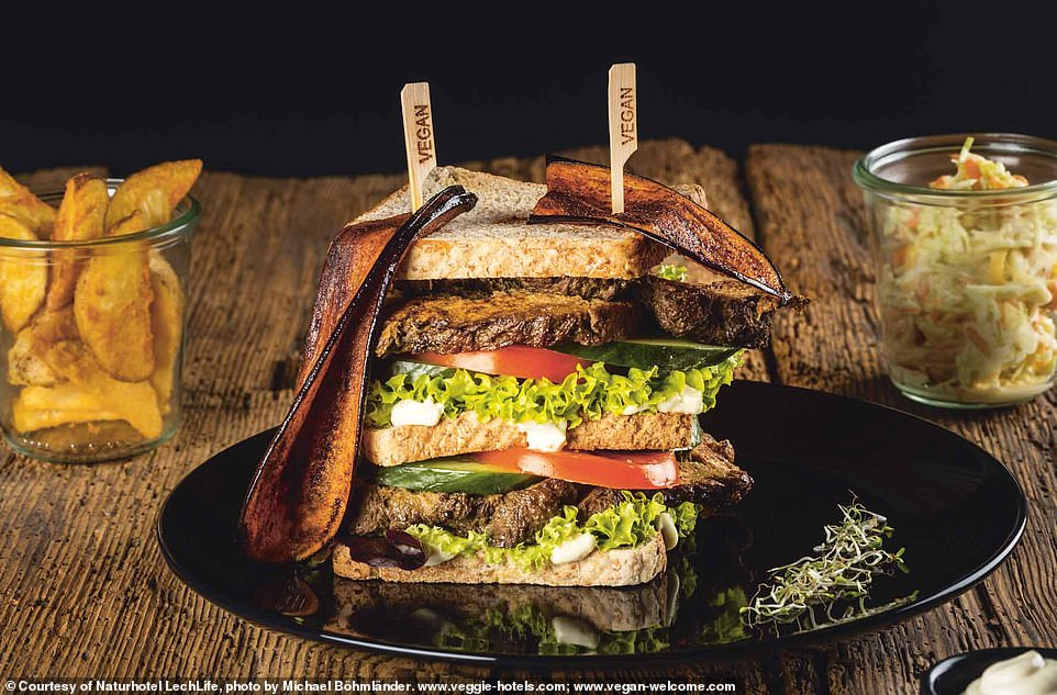Naturhotel LechLife is located in the Tyrol region of Austria. Its club sandwich withspelt seitan and wasabi mayo recipe is featured in the book