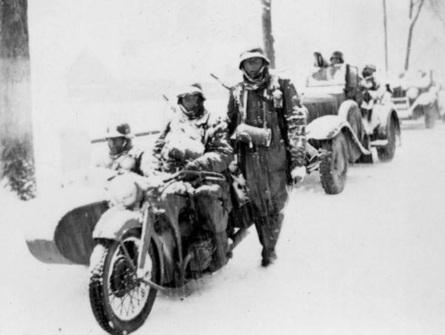 Their uniforms, motorbikes and armoured cars covered with snow, German troops are seen battling through the harsh Russian winters as they try to invade the Soviet Union.The rare image, taken in 1941, features in new bookImages of War: The Nazis' winter warfare on the Eastern Front, 1941-1945, written by historian Ian Baxter and published by Pen and Sword