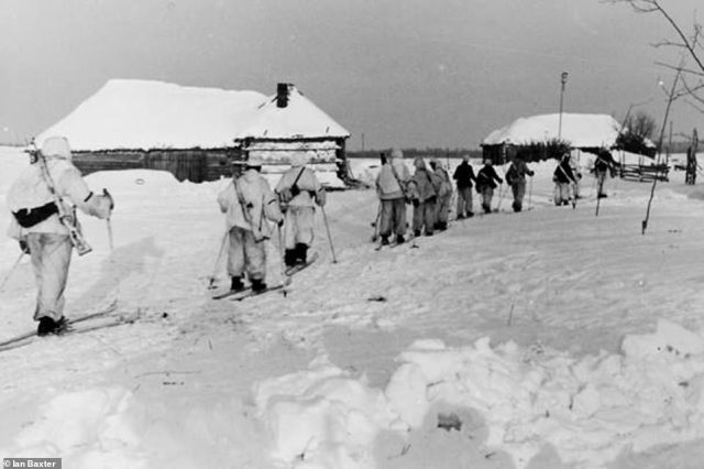 By early 1942, the Russian offensive had begun to falter. Back in Germany, production of tanks increased to confront the mammoth task of defeating the Red Army. Manufacturers were also designing more practical winter garments for soldiers. One thing was the snow suit and snow overall. The high command also produced a manual which included an explanation of how ski troops, pictured above, could advance rapidly through the snow