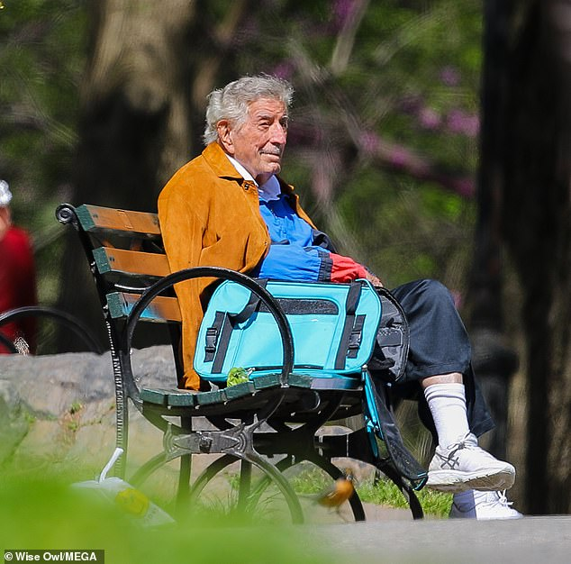 Peaceful outing: The singer was seen enjoying a moment on a park bench