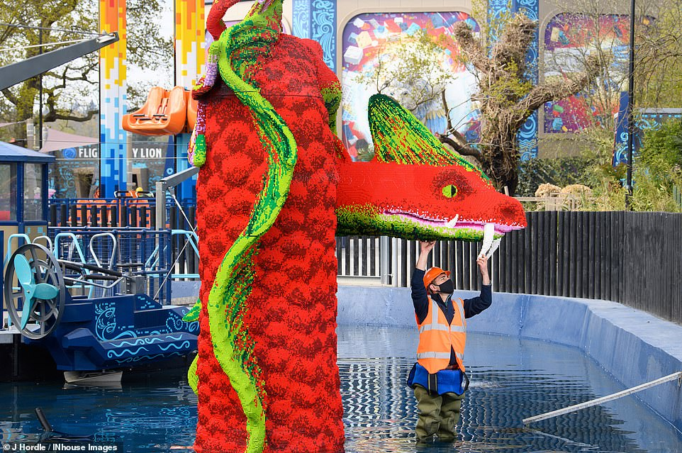 Legoland Windsor Resort has released first-look pictures of its eagerly anticipated new Lego Mythica: World of Mythical Creatures land. Pictured isHydra's Challenge, 'an exhilarating water ride'