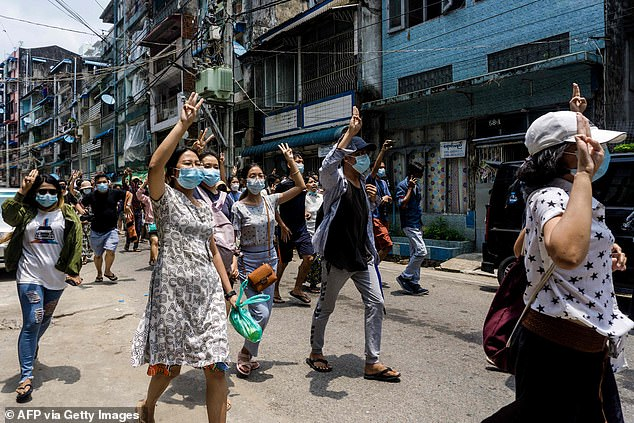 In Yangon on Tuesday, hundreds participated in one of the biggest demonstrations to hit the commercial hub in weeks