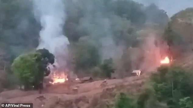 Video shot from the Thai side of the border showed flames rising from the government position on the banks of the Salween River, amid the sound of heavy gunfire