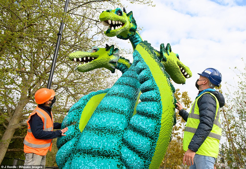 Also set to feature in the new land will be the Creature Creation where guests can build their very own Lego Mythica creatures. Here engineers carry out checks on amazing Duo the Hydra