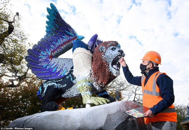 Final checks are carried out on one of the incredible Lego creatures at the Mythica land