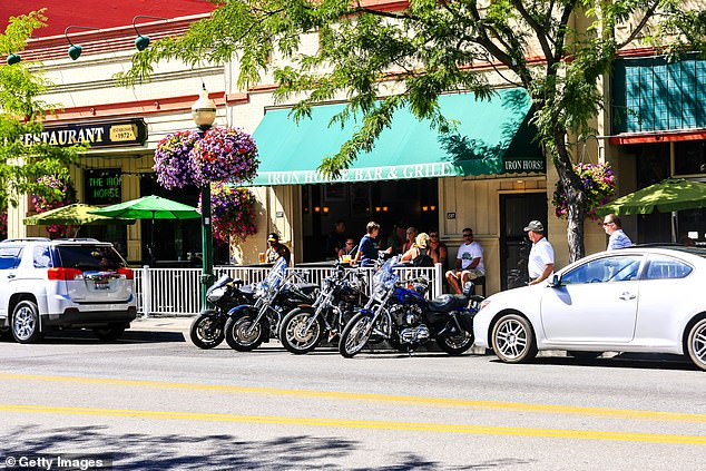 Motorcycles parked outside the Iron Horse Bar and Grill on Sherman Ave in Coeur d'Alene in Idaho