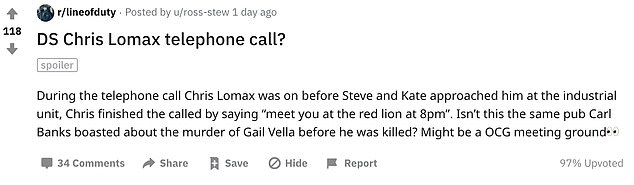Theory: Reddit useru/ross-stew pointed out that the Red Lion is the 'same pub Carl Banks boasted about the murder of Gail Vella' in before he was killed earlier in the series