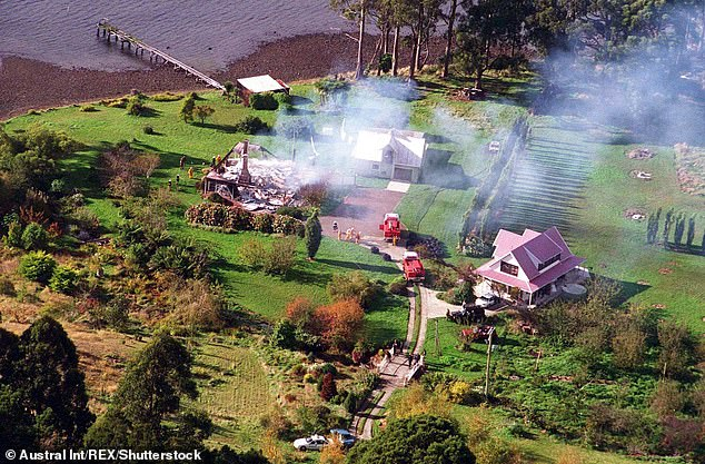 Pictured: The burnt-out ruins of Seascape Guesthouse after Martin Bryant's siege in 1996