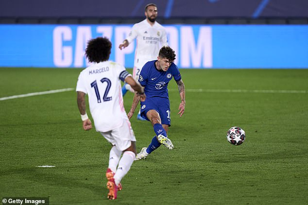 Pulisic scored a crucial away goal for Chelsea against Real Madrid in the Champions League
