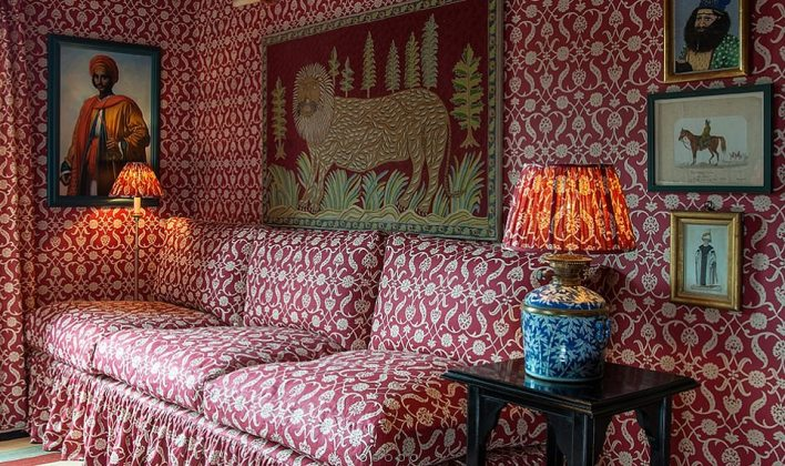 The upmarket interior eco designer Lulu Lytle (designs pictured) ¿ whose Soane Britain company was commissioned by Ms Symonds ¿ sells 'Yellow Gold' and 'Old Gold' wallpaper