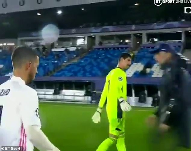 Thibaut Courtois attempted to shake Thomas Tuchel's hand at the end of the game on Tuesday