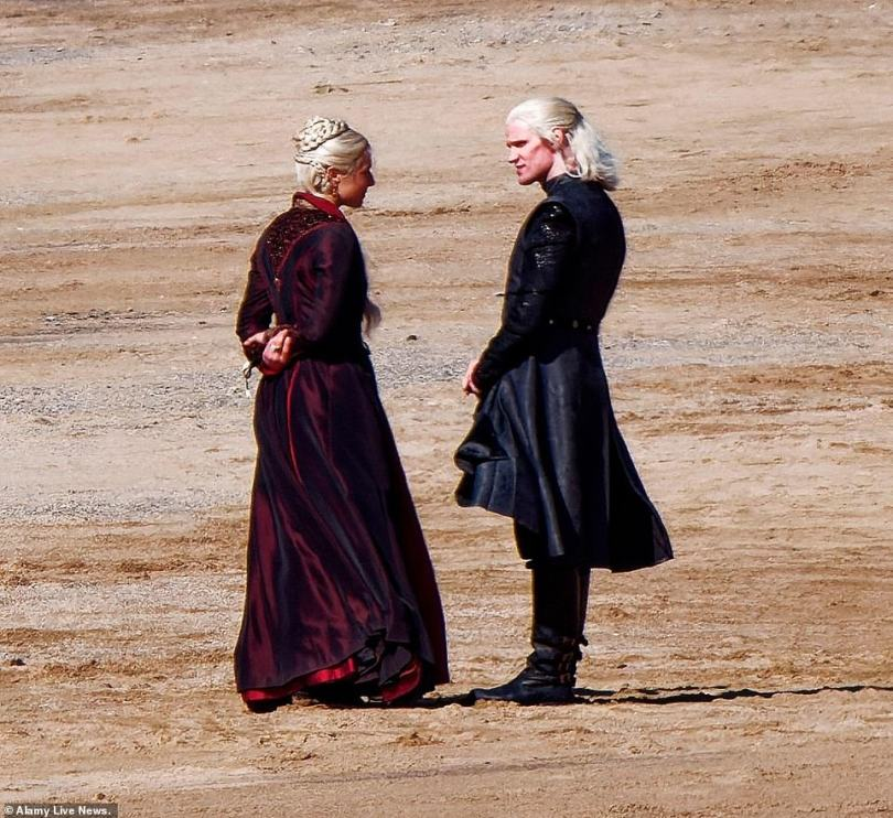 FIRST LOOK:Matt Smith has been seen filming for the hotly-anticipated Game of Thrones prequel for the first time as he joined co-star Emma D'Arcy on the beach in Cornwall