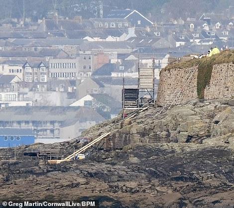 Preparations underway: In recent weeks, crew were seen setting up scaffolding near the beach
