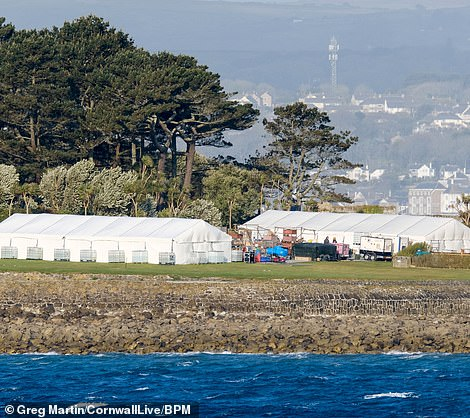Covid testing areas? Huge tents have also been erected near the set