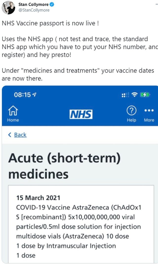 Stan Collymore is among those who discovered today their Covid jab is already on the NHS app as the Government revealed it would be used to house vaccine passports from May. The NHS has denied this means the passports are live, insisting the jabs are automatically added to medical records