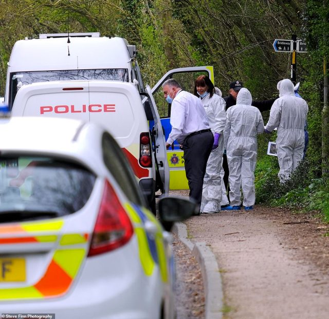 Forensic officers today arrived at the entrance to a path near where the body of Ms James was found on Tuesday