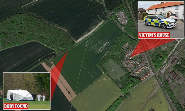 The body of Mrs James was found across two fields from her home in Snowdown, Kent, yesterday afternoon