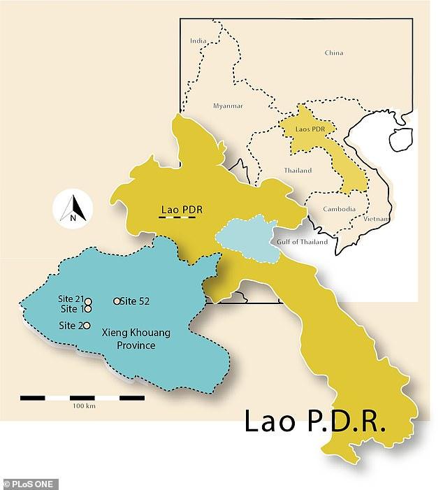 Un mapa de Laos, con la provincia de Xiangkhouang, hogar de miles de vasijas de piedra caliza que los científicos creían que estaban involucrados en ritos funerarios prehistóricos.