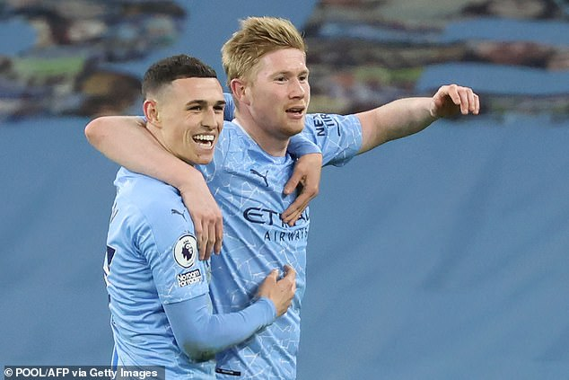 Phil Foden (L) is currently more important to Manchester City's team than Kevin De Bruyne (R), according to Joleon Lescott