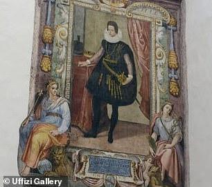Dos mujeres representadas a los pies de Cosimo II son representaciones humanas de las ciudades de Florencia y Siena, que gobernaron los Médicis.