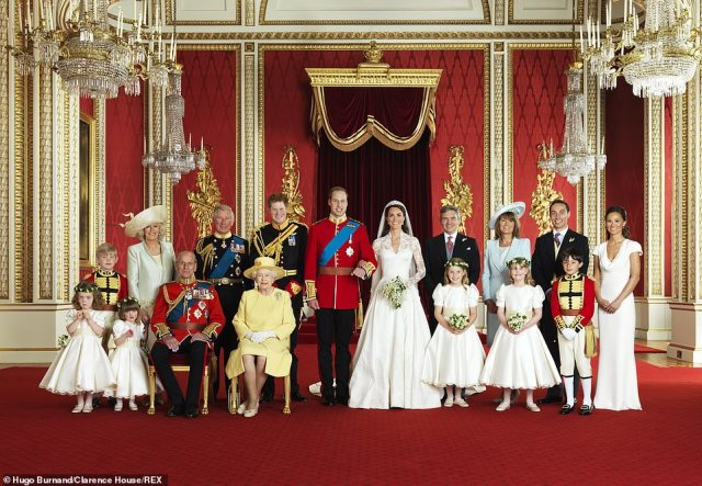 More poignant since the loss of Prince Philip: the couple's wedding photo, with both sides of their families present, taken byHugo Burnand in the throne room at Buckingham Palace