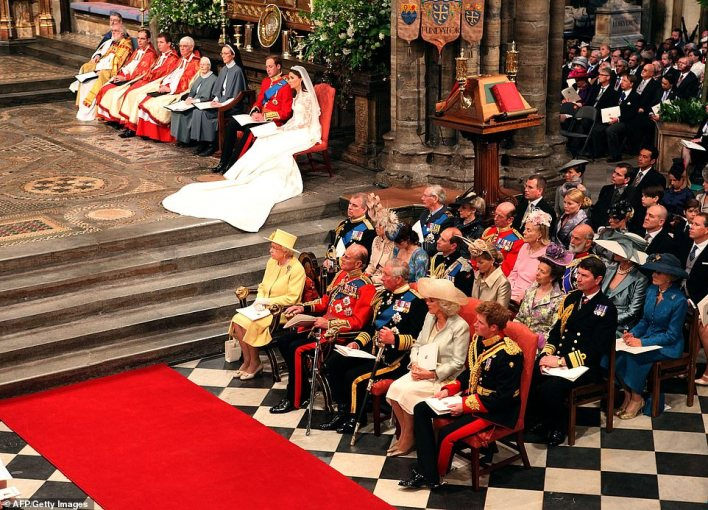 The Queen, the late Prince Philip, Prince Charles and the Duchess of Cornwall with a youthful-looking Prince Harry sat in the front row to watch Kate and William take their vows