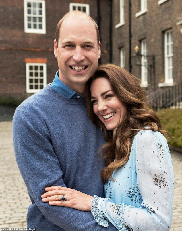In one of the new portraits of The Duke and Duchess of Cambridge, taken at Kensington Palace this week to mark their 10th wedding anniversary, Diana, Princess of Wales's famous sapphire and diamond engagement ring can be seen gleaming on Kate's finger (pictured)