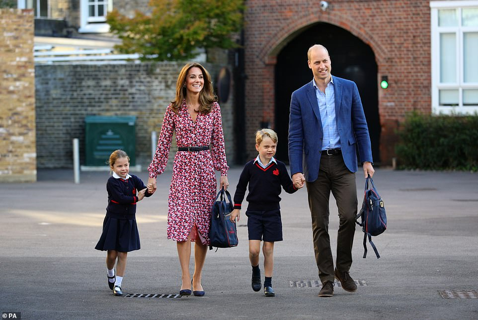 Prince Charlotte was joined by her brother Prince George on her first day at school in London on 5 September 2019
