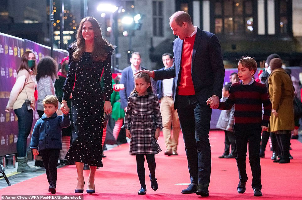 Prince William, Kate Middleton and their children attend a special pantomime performance at London's Palladium Theatre, hosted by The National Lottery, to thank key workers and their families for their efforts throughout the pandemic on 11 December 2020