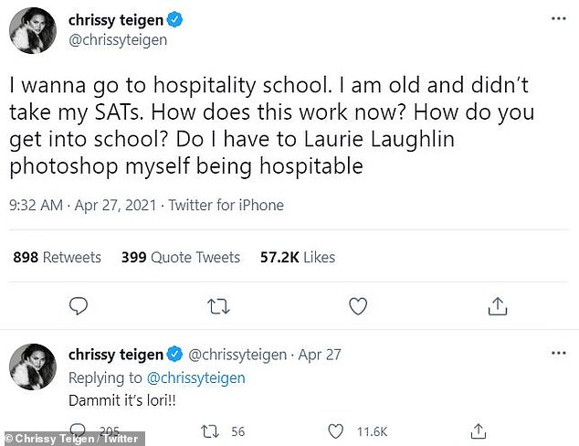 Teigen told her 13.6 million Twitter followers that she wants to 'go to hospitality school,'then acknowledged she had misspelled the Full House's star's name, writing, 'Dammit it¿s lori!!'