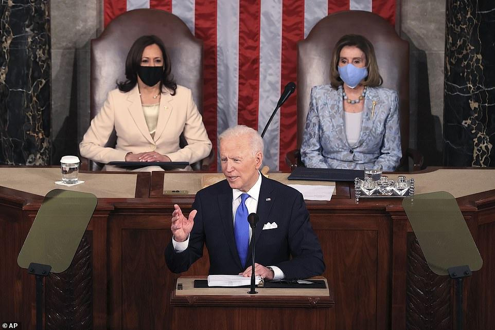 'No president has ever said those words from this podium. ¿ and it¿s about time. Madam speaker, madam vice president,' Biden said in reference to Speaker Nancy Pelosi and Vice President Kamala Harris