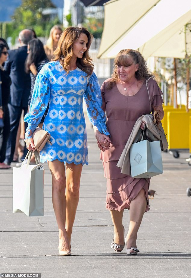 Stunning:Kyly Clarke stepped out for lunch with her mother, Yvanne Boldy, at Sydney's Woolloomooloo Wharf on Wednesday